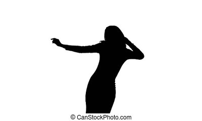 Silhouette of a girl who is fun dancing white background