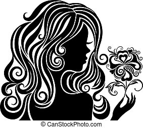 Black and white silhouette of a girl with luxurious hair and flower