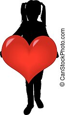 Silhouette of a girl with a heart.