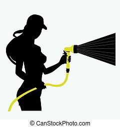 Silhouette of a girl with a hose