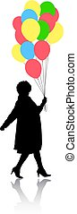 Silhouette of a girl with balloons in hand on a white background