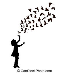 Silhouette of a girl with birds flying