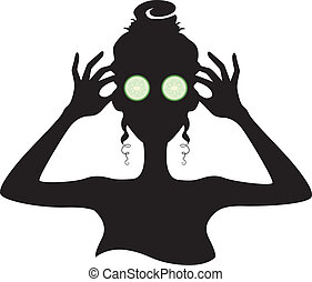 Silhouette of a Girl with Cucumber on her Eyes