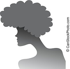 silhouette of a girl with lush hair in profile