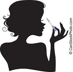 Silhouette of a Girl with Mascara - Illustration of a Girl's...