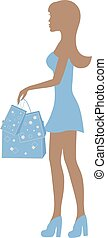Silhouette of a girl with packages