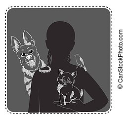 silhouette of a girl with pets