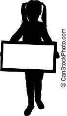 Silhouette of a girl with placards.