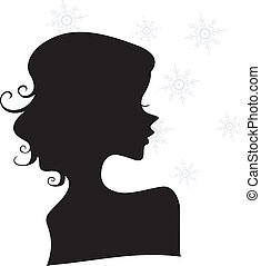 Silhouette of a Girl with Snowflakes