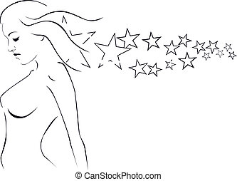 Silhouette Of A Girl With Stardust