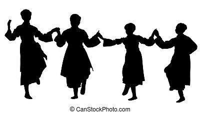 Silhouette of a girls dancing - Serbian folklore