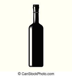 Silhouette of a glass wine bottle