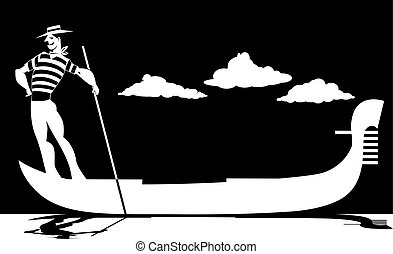 Silhouette of a gondolier
