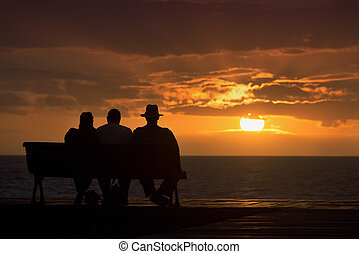 Silhouette of a group of seniors who sits on the bench,...