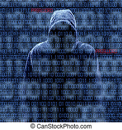 Silhouette of a hacker isloated on black with binary codes...