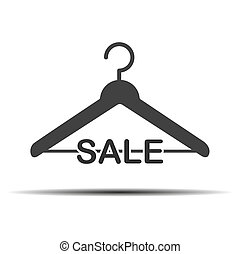 Silhouette of a hanger with the inscription sale. Vector illustration isolated on white background