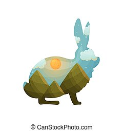 Silhouette of a hare with a landscape inside. Vector illustration on white background.