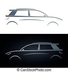 Silhouette of a hatchback. Concept car. Vector illustration.