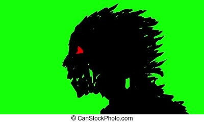 Silhouette of a head of a running zombie clattering with...