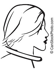 Silhouette of a head of the girl