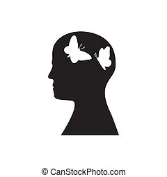 Silhouette of a head with butterflies flying inside on a white isolated background. Icon. Vector image.
