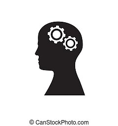Silhouette of a head with two gears on a white isolated background. Vector image.