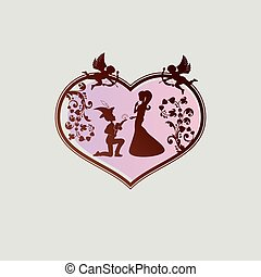 silhouette of a heart with a boy in a hat with a feather, a girl and cupidon
