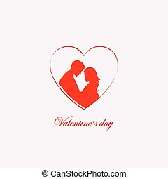 silhouette of a heart with a loving couple