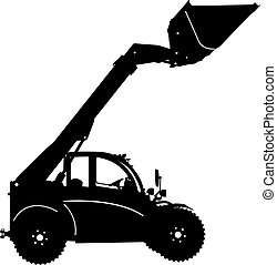 Silhouette of a heavy loaders with  ladle. Vector illustration