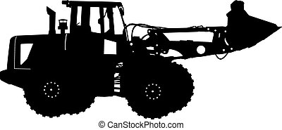 Silhouette of a heavy loaders with ladle. Vector illustration.
