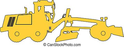 Silhouette of a heavy road grader. Vector illustration