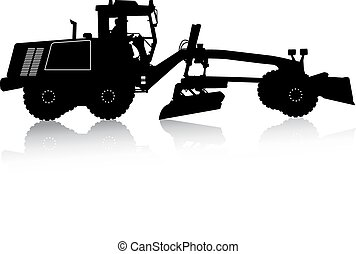 Silhouette of a heavy road grader. Vector illustration. - ...