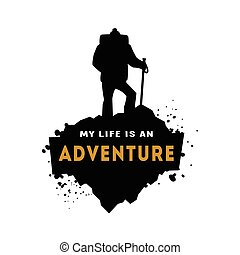 Silhouette of a hiker with an inscription.