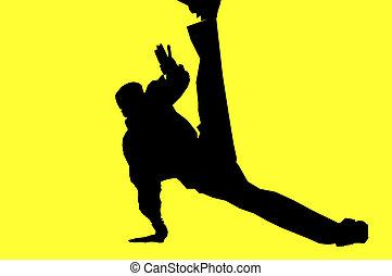 silhouette of a hip hop dancer