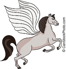 Silhouette of a horse with wings - Pegasus