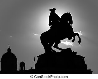 silhouette of a horseman sculpture in vienna