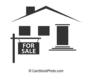Silhouette of a house with a signboard for sale. Black icon on white background. Vector illustration
