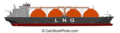 Silhouette of a huge ocean tanker for liquefied gas. Traced details. Side view.