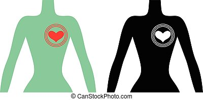 Silhouette of a human body with a beating heart