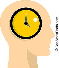 Silhouette of a human head with clock icon