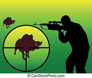 hunter on a wild boar