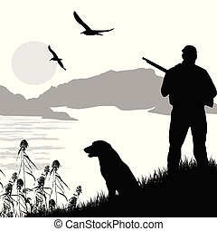 Silhouette of a hunter with dog