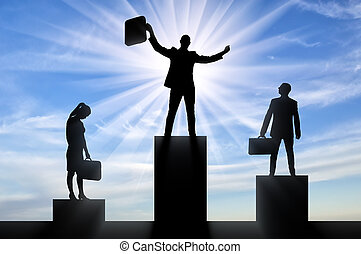 Silhouette of a jubilant man on the podium of a winner and a silhouette of a sad man and woman near