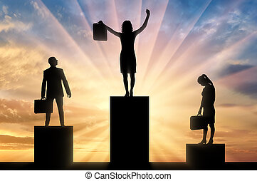 Silhouette of a jubilant woman on the podium of a winner and a silhouette of a sad man and woman near