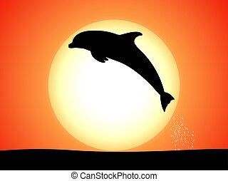 Silhouette of a jumping dolphin against a sunset