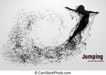 Silhouette of a jumping girl from particles. Text and...