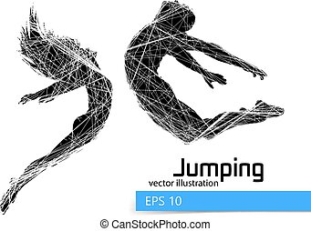 Silhouette of a jumping man and girl.