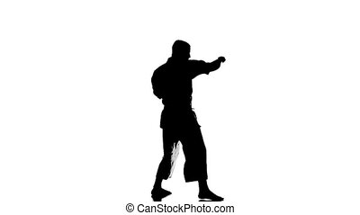 Silhouette of a karate man exercising against white background. Slow motion.