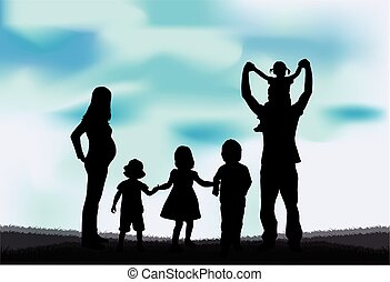 Silhouette of a large family.