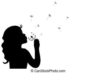 Silhouette of a little girl blowing dandelion isolated in...
